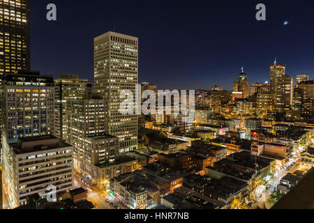 Editorial night view of Chinatown and Nob Hill Tourist Areas. - Stock Photo