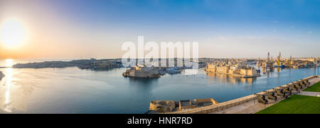 Panoramic view over the Grand Harbour with Saluting Battery cannons, Valletta - Malta - Stock Photo