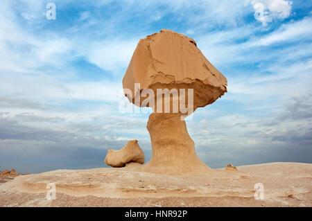 Rocks in Great White Desert in Egypt - Stock Photo