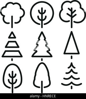 Isolated black and white color trees in lineart style set, forest,park and garden flat signs collection. - Stock Photo