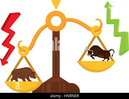 Stock market bull and bear icon vector illustration graphic design - Stock Photo
