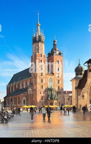 Cracow - St Mary's Church, Market Square, Poland - Stock Photo