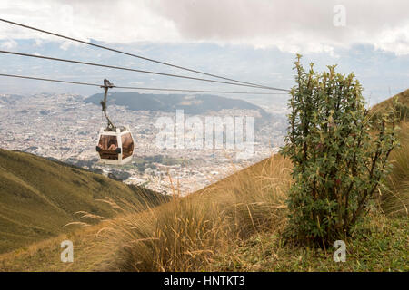 The TelefériQo in Quito, Ecuador, running from the edge of the city up the east side of Pichincha Volcano.View from - Stock Photo