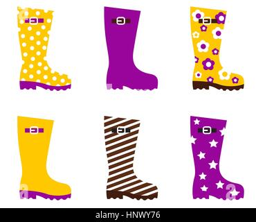 11209047 - cute wellies isolated on white. vector - Stock Photo