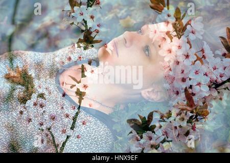 Multi exposure photo of sad teen girl - Stock Photo
