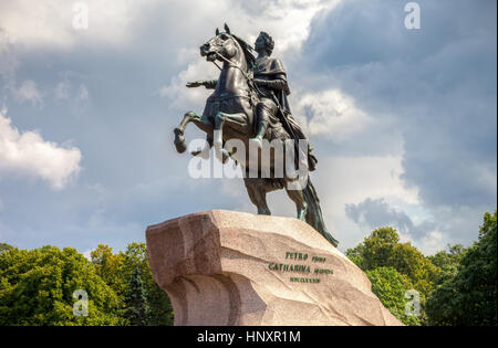 SAINT PETERSBURG, RUSSIA - JULY 31, 2016: The equestrian monument of Russian emperor Peter the Great, known as The - Stock Photo
