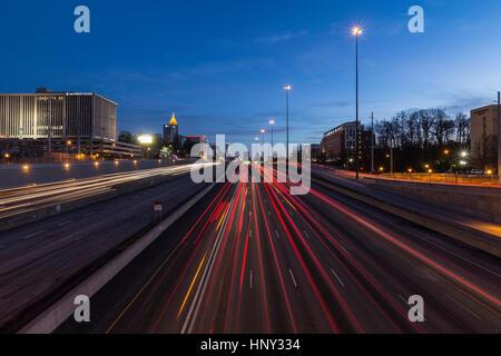 Atlanta, Georgia, USA - February 15, 2014: Editorial night view of Atlanta's busy Interstate 75 and 85 freeways - Stock Photo