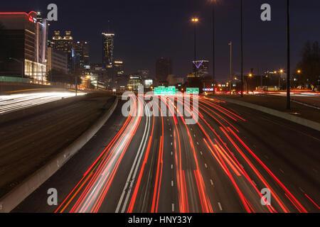 Atlanta, Georgia, USA - February 15, 2014: Editorial night view of Atlanta's massive Interstate 75 and 85 freeways - Stock Photo