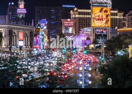 Las Vegas, Nevada, USA - October 10, 2015:  Night weekend traffic on the Las Vegas Strip. - Stock Photo