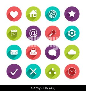 Vector Application  Web Icons Set in Flat Design with Long Shadows on circle buttons with heart home globe star - Stock Photo