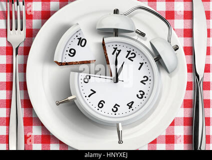 Time to eat concept, cut clock on plate - Stock Photo