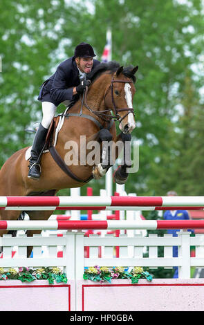 The National, Spruce Meadows June 2001,  Rich Fellers (USA) riding McGuiness - Stock Photo