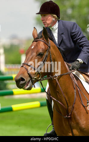 The National, Spruce Meadows, June 2001, Katie Prudent (FRA) riding Landed Gentry - Stock Photo