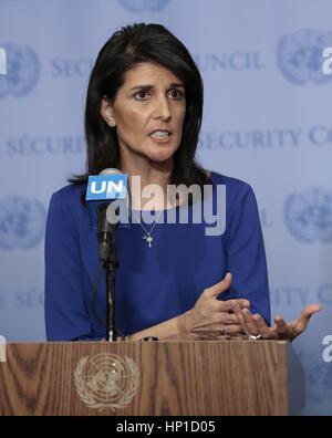 UN, New York, uSA. 16th February 2017. Nikki Haley, Ambassador of the United States to the United Nations Press - Stock Photo