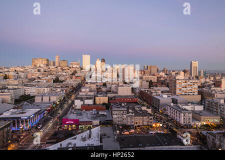 Editorial twilight view towards Nob Hill and San Francisco's financial district. - Stock Photo