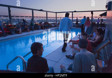 Meatpacking District. Hotel Gansevoort, bar, restaurant. 18 Ninth Av at 13th St. roof,New York City, USA - Stock Photo