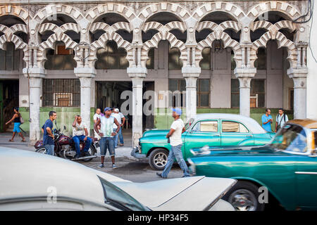 Facade of Palacio de las Ursulinas and vintage car, in Old Havana, Habana Vieja, La Habana, Cuba - Stock Photo
