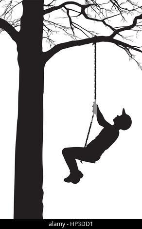 A Boy Swings on a Tree - Stock Photo