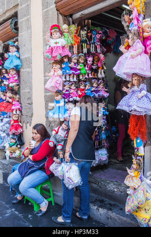 Doll shop, Emiliano Zapata street, Mexico City, Mexico - Stock Photo