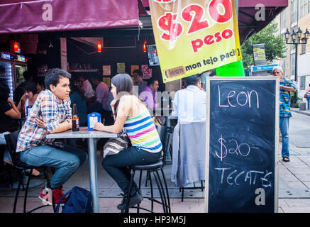 Outdoor terrace, Génova street, Pink zone, Mexico City, Mexico - Stock Photo