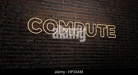 COMPUTE -Realistic Neon Sign on Brick Wall background - 3D rendered royalty free stock image. Can be used for online - Stock Photo