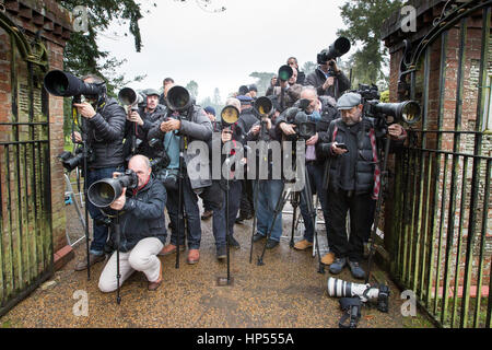 Press photographers at Sandringham Estate,Norfolk,waiting to get a picture of The Queen - Stock Photo