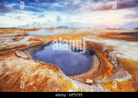 Fumarole field in Namafjall Iceland. The picturesque landscapes forests. - Stock Photo