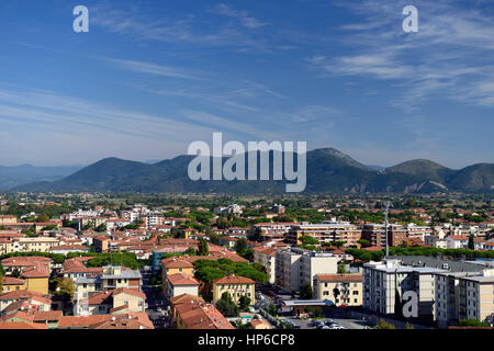 pisa city, countryside, view from top, leaning Tower of Pisa, tourism, view, viewing, viewpoint, from, The Baptistery, - Stock Photo