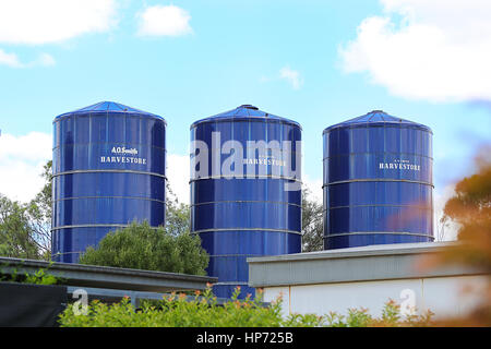 MUDGEE, AUSTRALIA - JANUARY 3, 2017: View at silos in Mudgee, Australia. Mudgee region is well known for producing - Stock Photo