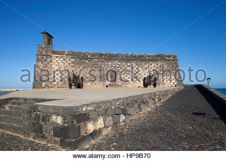 Castillo de San Gabriel now Museo de historia,promenade Arrecife town,Lanzarote,Canary,Spain - Stock Photo
