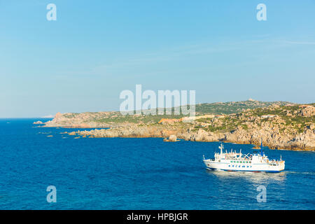 Saremar ferry boat navigates from Santa teresa di Gallura, northern Sardinia Italy to the Bonifaccio Corsica island - Stock Photo