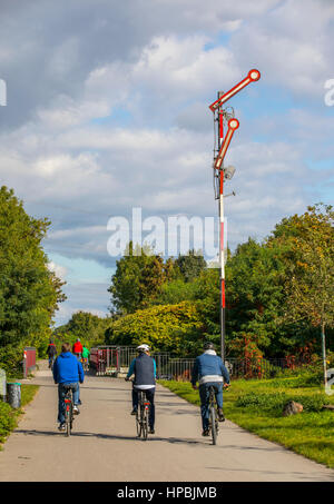 Cycling along the Rheinische Bahn, Essen, part of the Radschnellweg Ruhr RS1, bike highway through the Ruhr area, - Stock Photo