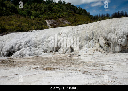 Scenic silica formation in Orakei Korako geothermal park and Hidden Valley, New Zealand, North Island - Stock Photo