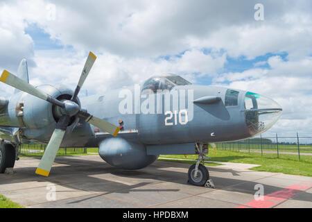 LELYSTAD, NETHERLANDS - MAY 15, 2016: North american B-52 Mitchell bomber plane at the Aviodrome aerospace museum - Stock Photo