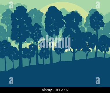 Mystical forest landscape sunset vector background vintage and retro colors - Stock Photo