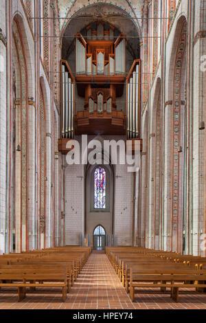 Great organ in the Lübecker Marienkirche / St. Mary's church at Lübeck, Schleswig-Holstein, Germany - Stock Photo