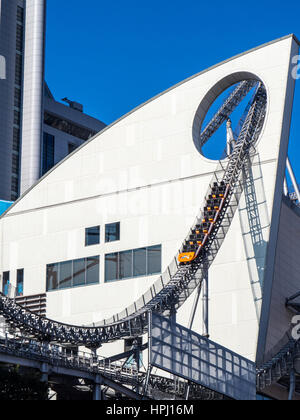 The Thunder Dolphin roller coaster at the Tokyo Dome City Attractions amusement park, Tokyo. - Stock Photo