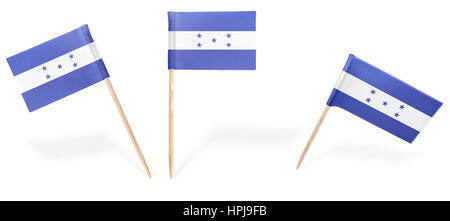 Small cocktail flags of Honduras in different positions isolated on white.(series) . Also easy to use as a design - Stock Photo
