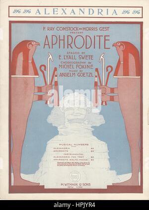 'Aphrodite' 1919 Musical Sheet Music Cover - Stock Photo