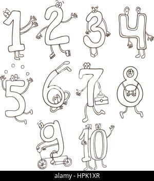 Set of cute and funny colorful number characters, cartoon vector illustration isolated on white background. - Stock Photo