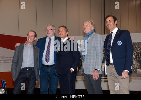 London, UK. 23rd Feb, 2017. Phto call with Jacky Ickx and Derek Bell, Emanuele Pirro, Jurgen Barth and Jackie Oliver, - Stock Photo