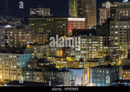 Editorial view of San Francisco's Nob Hill tourist district at night. - Stock Photo