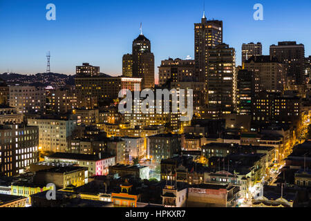San Francisco, California, USA - January, 13, 2013:  Editorial dusk view of Chinatown and Nob Hill in downtown San - Stock Photo