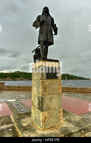 Monument to Pierre Le Moyne d'Iberville in Havana, Cuba who was a soldier, ship captain, explorer, colonial administrator, - Stock Photo