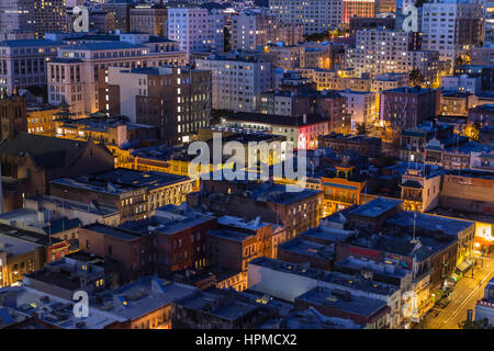 Editorial night view of San Francisco's historic Chinatown and Nob Hill streets, buildings and rooftops. - Stock Photo