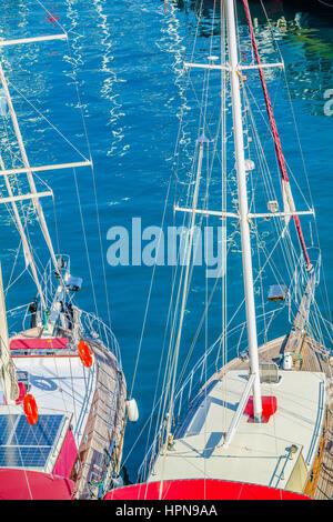 yachts elevated view, turkish yachts, wooden turkish boats, blue cruise, mavi tur, ahsap tekne - Stock Photo
