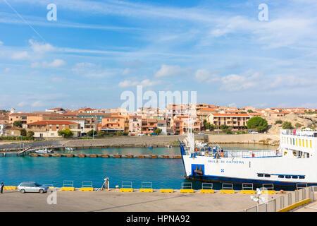 Saremar ferry boat navigates from Palau, (northern Sardinia) to the island of La Maddalena, the main island of the - Stock Photo