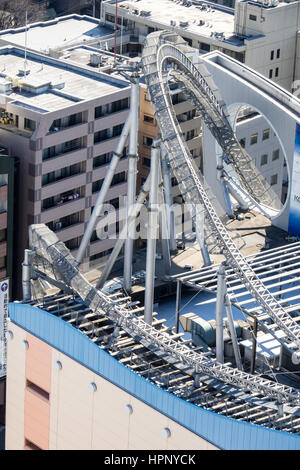 Section of the Thunder Dolphin roller coaster on the rooftop of the LAQua complex at the Tokyo Dome City Attractions, - Stock Photo
