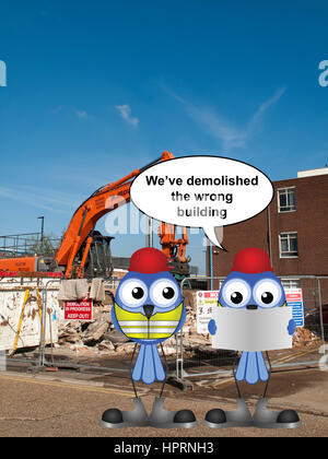 J mould Demolition Company based in Reading Berkshire, demolition of building with work safe message - Stock Photo