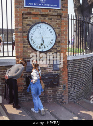 The Shepherd Clock Gate at Old Royal Observatory, Greenwich, London Borough of Greenwich, Greater London, England, - Stock Photo